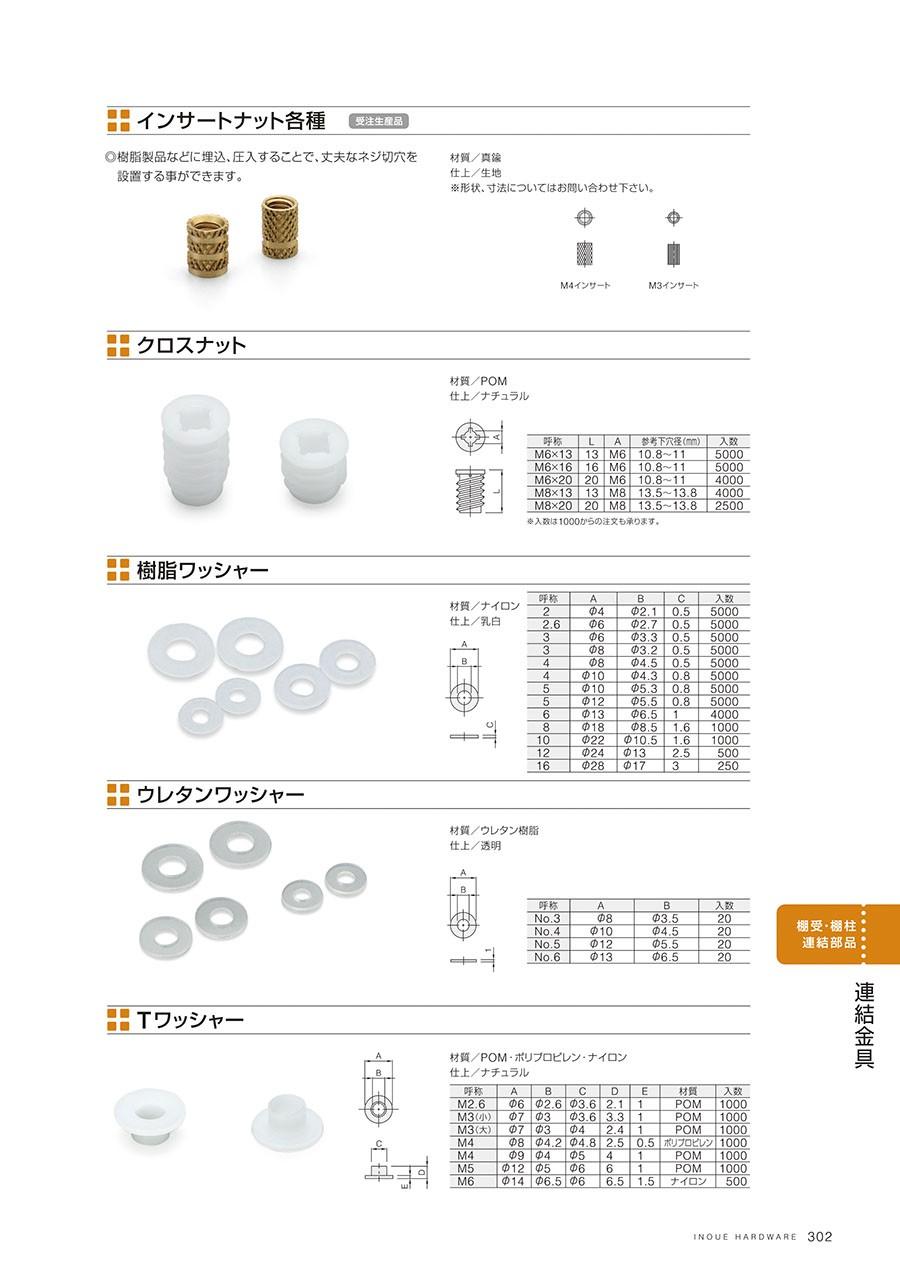インサートナット各種樹脂製品などに埋込、圧入することで、丈夫なネジ切穴を設置する事ができます材質/真鍮仕上/生地※形状、寸法についてはお問い合わせ下さいクロスナット材質/POM仕上/ナチュラル樹脂ワッシャー材質/ナイロン仕上/乳白ウレタンワッシャー材質/ウレタン樹脂仕上/透明Tワッシャー材質/POM・ポリプロピレン・ナイロン仕上/ナチュラル