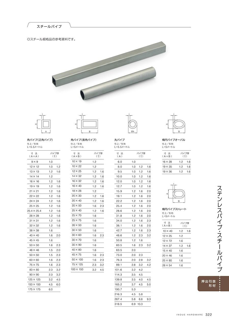 スチールパイプスチール規格品の参考資料です角パイプ(正角パイプ)仕上/生地L=5.5メートル角パイプ(長角パイプ)仕上/生地L=5メートル丸パイプ仕上/生地L=5.5メートル楕円パイプオーバル仕上/生地L=5メートル楕円パイプストレート仕上/生地L=5メートル
