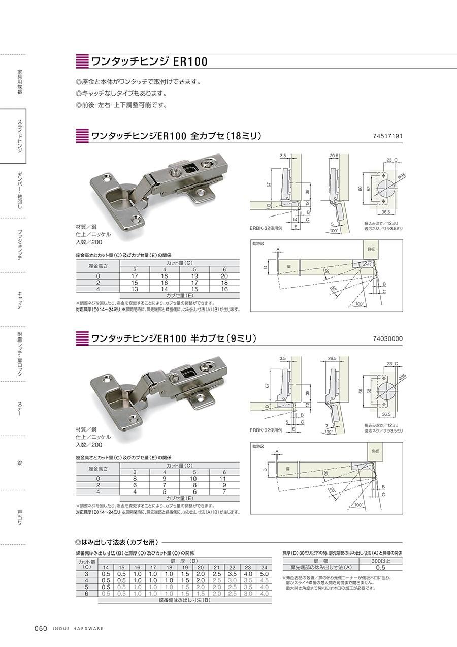 ワンタッチヒンジ ER100◎座金と本体がワンタッチで取付けできます。◎キャッチなしタイプもあります。◎前後・左右・上下調整可能です。ワンタッチヒンジER100 全カブセ(18ミリ)材質/鋼仕上/ニッケル入数/200ワンタッチヒンジER100 半カブセ(9ミリ)材質/鋼仕上/ニッケル入数/200