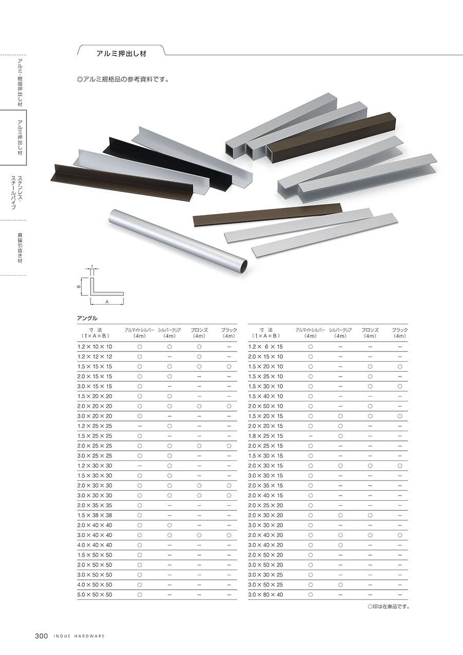 ◎アルミ規格品の参考資料です。アングル仕上/アルマイトシルバー・シルバークリア・ブロンズ