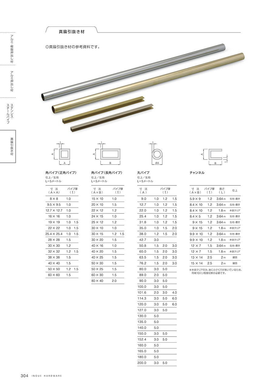 ◎真鍮引抜き材の参考資料です。角パイプ(正角パイプ)・角パイプ(長角パイプ)・丸パイプ・チャンネル仕上/生地・磨き・本金クリア・鏡面※本金クリアのみ、端に小さく穴があいているため、両端10ミリ程度切断が必要です。L=5メートル