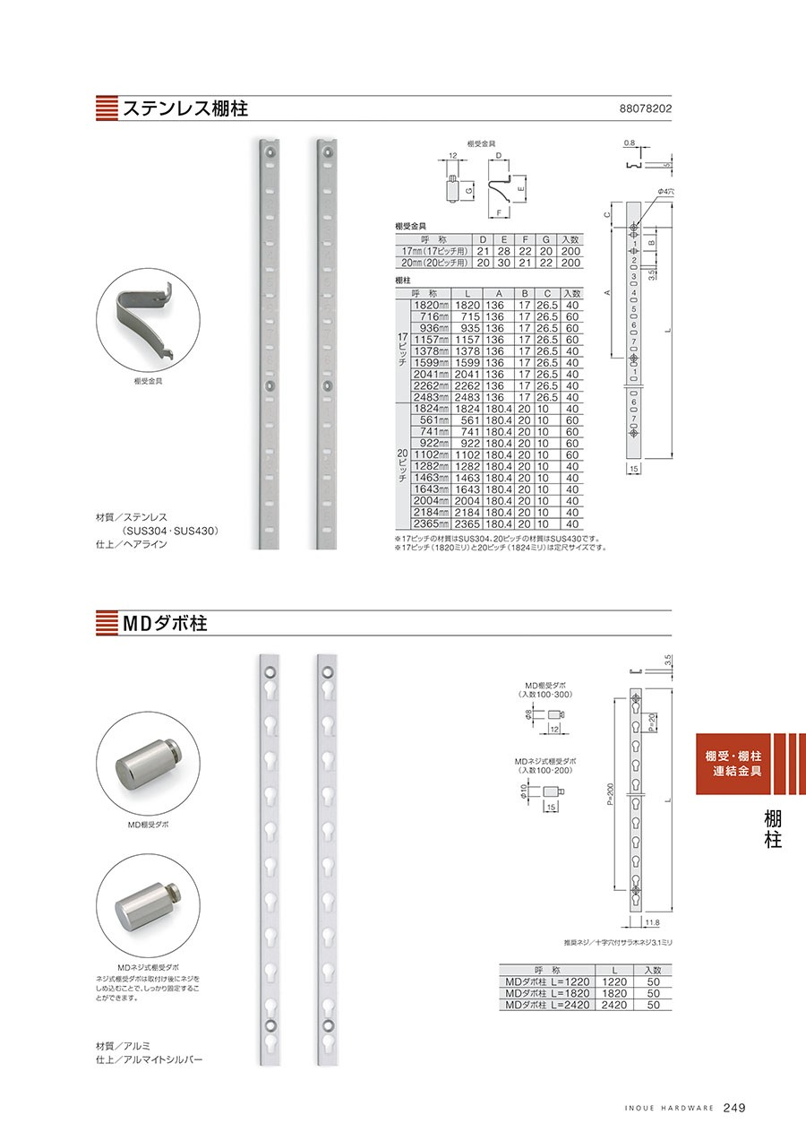 ステンレス棚柱材質/ステンレス(SUS304・SUS430)仕上/ヘアライン※17ピッチの材質はSUS405・20ピッチの材質は430です。※17ピッチ(1820ミリ)と20ピッチ(1824ミリ)は定尺サイズです。棚受金具MDダボ柱材質/アルミ仕上/アルマイトシルバーMD棚受ダボ入数/100・300MDネジ式棚受ダボ入数/100・200