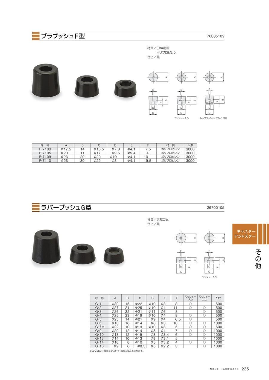 プラブッシュF型材質/EVA樹脂・ポリプロピレン仕上/黒ラバープッシュG型材質/天然ゴム仕上/黒※G・7Mの材質はミラストマ(合成ゴム)となります。