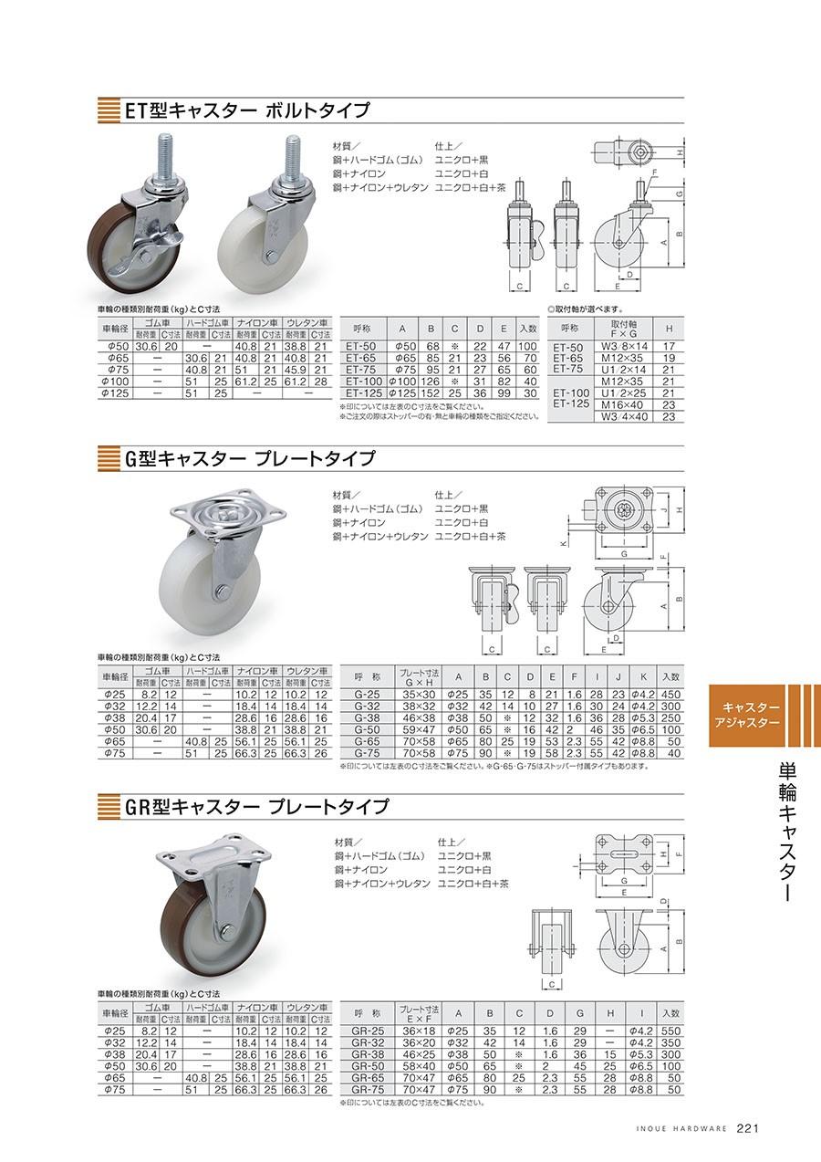 ET型キャスター ボルトタイプ材質/鋼+ハードゴム(ゴム)・鋼+ナイロン・鋼+ナイロン+ウレタン仕上/ユニクロ+黒・ユニクロ+白・ユニクロ+白+茶G型キャスター プレートタイプ材質/鋼+ハードゴム(ゴム)・鋼+ナイロン・鋼+ナイロン+ウレタン仕上/ユニクロ+黒・ユニクロ+白・ユニクロ+白+茶GR型キャスター プレートタイプ材質/鋼+ハードゴム(ゴム)・鋼+ナイロン・鋼+ナイロン+ウレタン仕上/ユニクロ+黒・ユニクロ+白・ユニクロ+白+茶