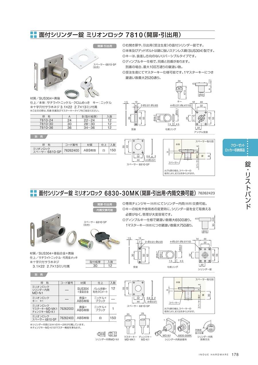 面付シリンダー錠 ミリオンロック 7810(開扉・引出用)右開き扉や、引出用(受注生産)の面付シリンダー錠です本体およびデッドボルトは錆に強いステンレス鋼(SUS304)製ですキーは、抜差し方向のないリバーシブルタイプですディンプルキー仕様で、同番と別番があります別番の場合、最大100万通りの鍵違い数受注生産にてマスターキー仕様可能です1マスターキーにつき鍵違い数最大2520通り材質/SUS304+真鍮仕上/本体:サチライトニッケル・クロムめっきキー:ニッケル※十字穴付サラ木ネジ 3.1×22 2.7×13ミリ付属面付シリンダー錠 ミリオンロック 6830-30MK(開扉・引出用・内筒交換可能)専用チェンジキー(別売)にてシリンダー内筒(別売)交換可能キーの紛失や使用者の変更時に、シリンダー錠を全て取換える必要がなく、管理が大変容易ですディンプルキー仕様で鍵違い数量最大6500通り1マスターキー(別売)につき鍵違い数最大750通り材質/SUS304+亜鉛合金+真鍮仕上/サチライトニッケル・代用金メッキ※十字穴付サラ木ネジ 3.1×22 2.7×13ミリ付属