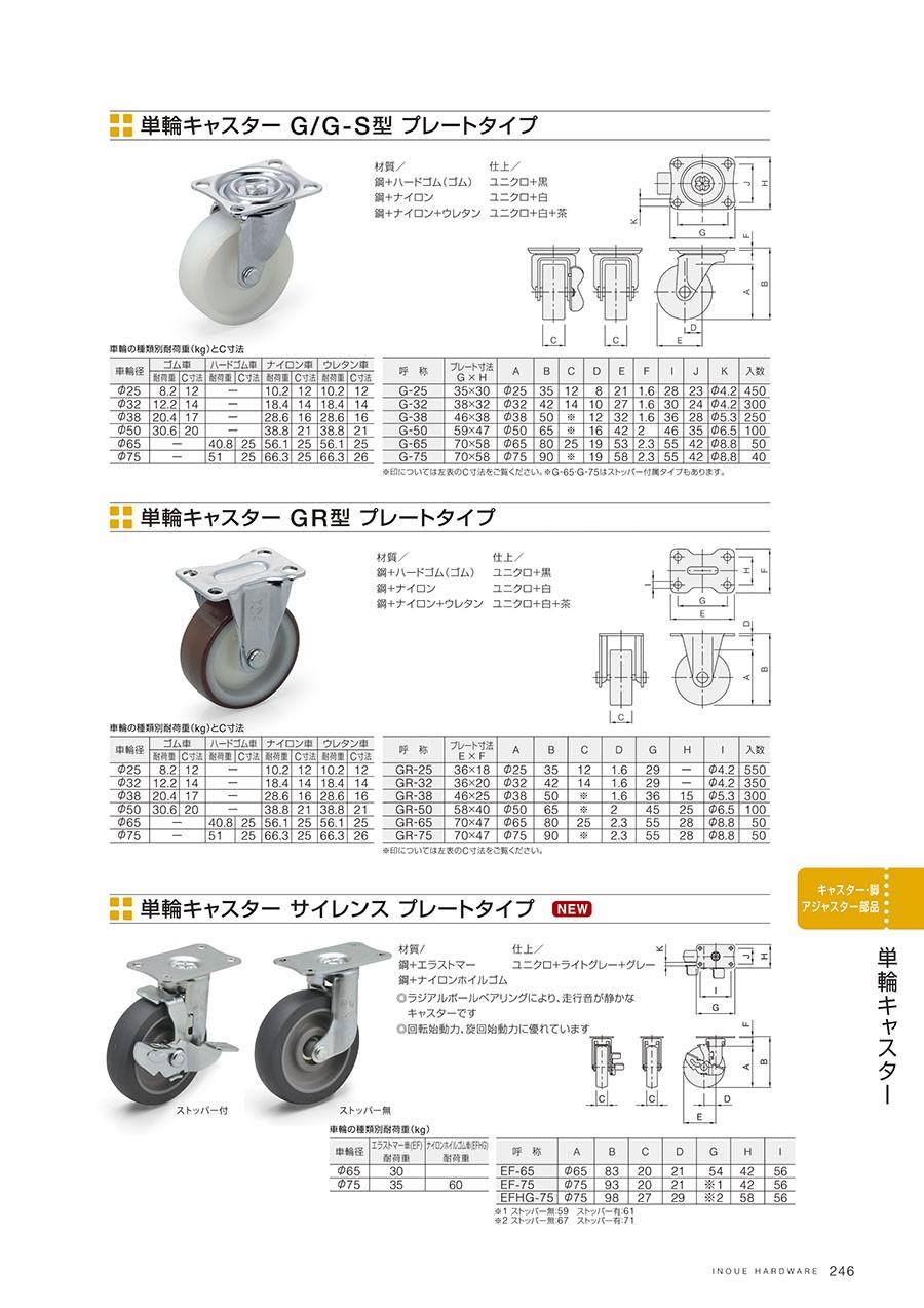 単輪キャスター G/G-S型 プレートタイプ材質/鋼+ハードゴム(ゴム)鋼+ナイロン鋼+ナイロン+ウレタン仕上/ユニクロ+黒ユニクロ+白ユニクロ+白+茶単輪キャスター GR型 プレートタイプ 材質/鋼+ハードゴム(ゴム)鋼+ナイロン鋼+ナイロン+ウレタン仕上/ユニクロ+黒ユニクロ+白ユニクロ+白+茶単輪キャスター サイレンス プレートタイプ 材質/鋼+エラストマー鋼+ナイロンホイルゴム仕上/ユニクロ+ライトグレー+グレーラジアルボールベアリングにより、走行音が静かなキャスターです回転始動力、旋回始動力に優れています