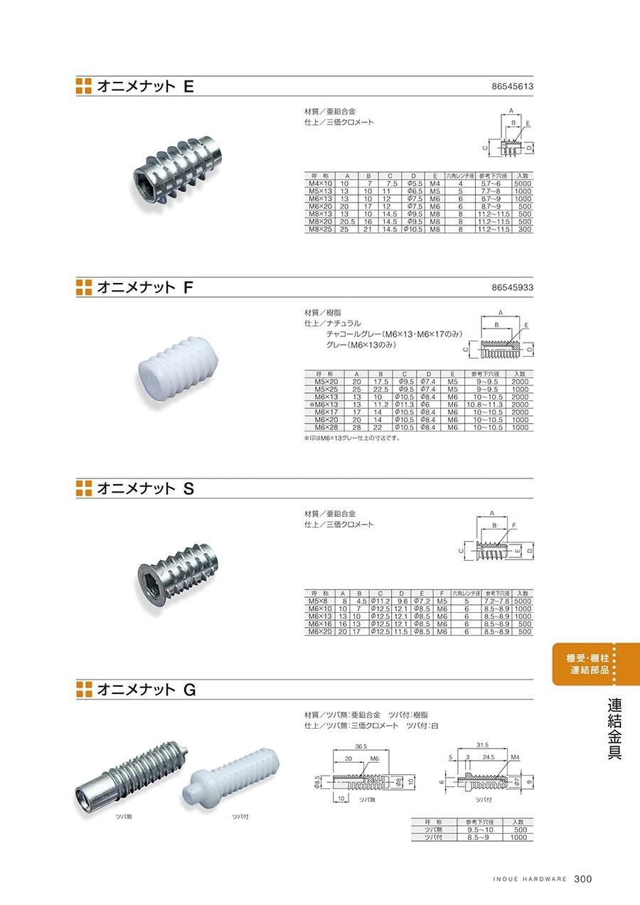 オニメナット E材質/亜鉛合金仕上/三価クロメートオニメナット F材質/樹脂仕上/ナチュラルチャコールグレー(M6×13・M6×17のみ)グレー(M6×13)オニメナット S材質/亜鉛合金仕上/三価クロメートオニメナット G材質/ツバ無:亜鉛合金 ツバ付:樹脂仕上/ツバ無:三価クロメート ツバ付:白
